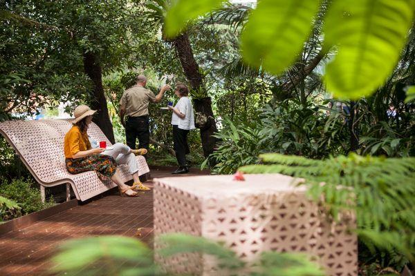 Visitors sit along the rainforest boardwalk design