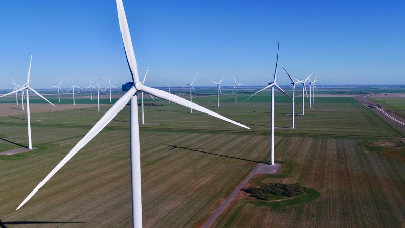 landscape view of wind farm in regional Victoria