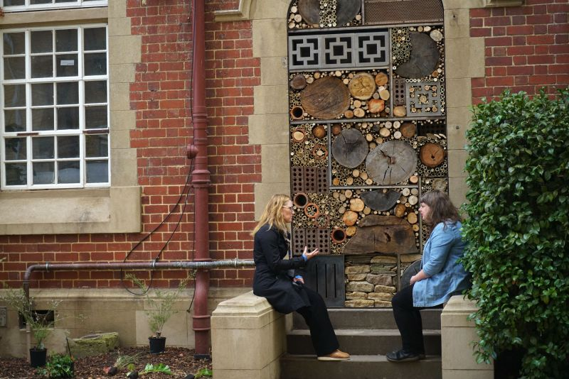 Two women sit opposite each other talking in front of a large brick doorway. The doorway is filled with logs, bamboo, bricks and smaller branches.