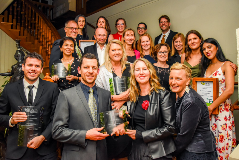 Group picture of award winners at awards ceremony