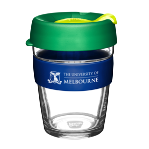 KeepCup with UniMelb branding and Green and Yellow lid