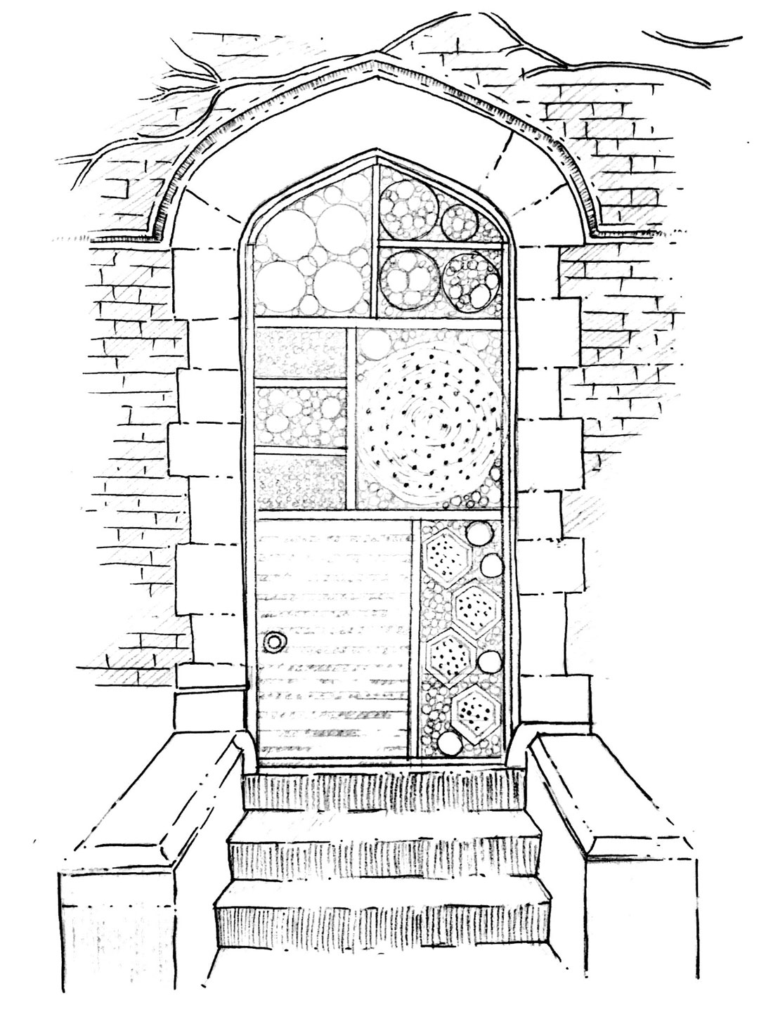 Hand drawn sketch of a brick doorway with stairs leading up to it. The doorway is drawn to be filled with ends of bamboo, sticks, bricks and wood in sections.
