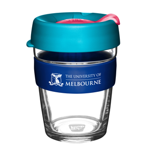 KeepCup with UniMelb branding and pink and light blue lid