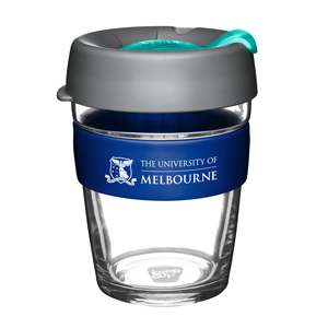 KeepCup with UniMelb branding and grey and light blue lid