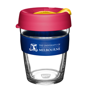 KeepCup with UniMelb branding and pink and yellow lid