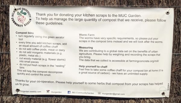 Image of a large canvas sign with instructions on how to compost at the Community Garden